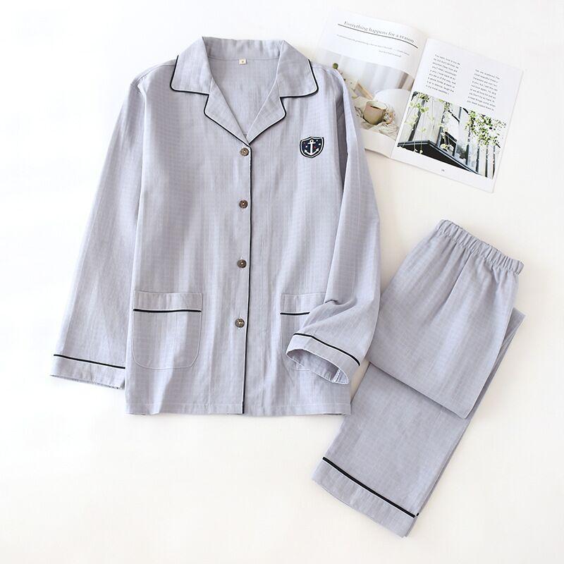 Mens Pajamas Men Sleepwear 100% Cotton Pajama Spring Autumn Pijama Hombre Mens Sleepwear Sleep&Lounge Pyjamas Plus Size