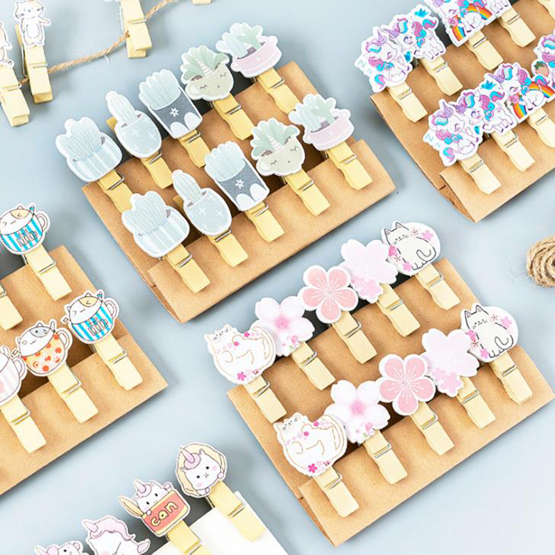 10 Pcs/pack Kawaii Unicorn Panda Cat Pig Sakura Cactus Wooden Clips Photo Memo Paper Clips Stationery Clothespin Christmas Gifts