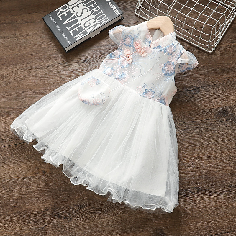 kids Girls summer clothes baby Chinese style embroidery mesh <font><b>dress</b></font> for girls <font><b>2</b></font> 3 4 5 T baby <font><b>birthday</b></font> clothing princess <font><b>dress</b></font> image