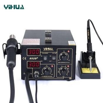 цена на YIHUA 852D+ 500 Celsuis Hot Air Soldering Station With Soldering Iron Heat Gun Tool BGA Welding Station SMD Desoldering Station