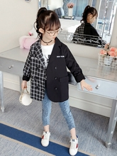 2019 Spring Autumn Children Outerwear Jackets for Girls Blazers Coat Kids Plaid