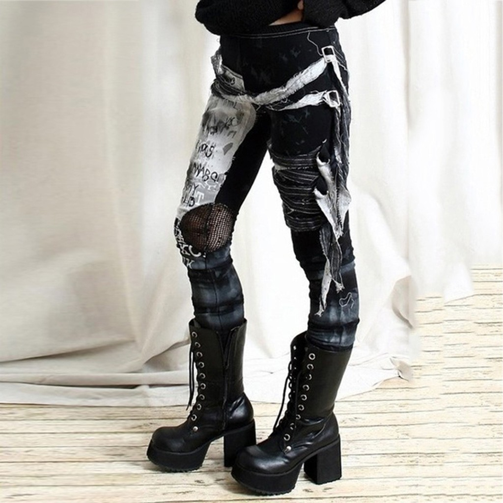 New Gothic Punk Style Women Rocker Pants Skinny Cool Long Pant Girls Autumn Elastic Waist Street Trousers Slim Fit Hole Bottoms