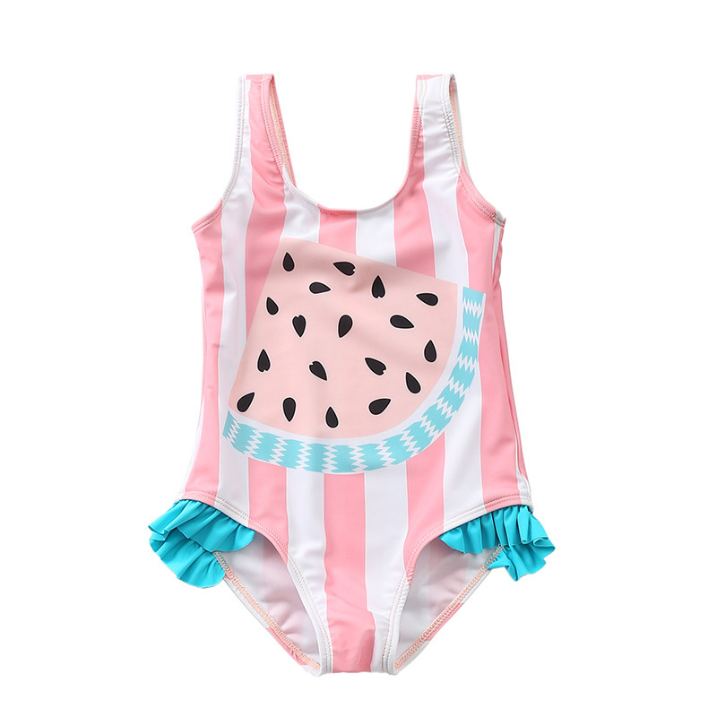 2018 Europe And America New Style Watermelon Printed GIRL'S Bathing Suit Children Small CHILDREN'S Girls One-Piece One-piece Swi