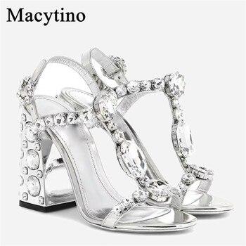 Crystal Embellished Summer High Heel Sandals Silver Mirror Leather Wedding Sandals Plus Size Bridal Shoes Women