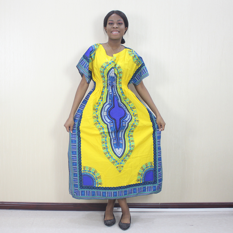 Yellow 100% Cotton Afrian Dashiki Traditional Pattern Printed Short Sleeve Long Dresses Fashion Lady Dresses
