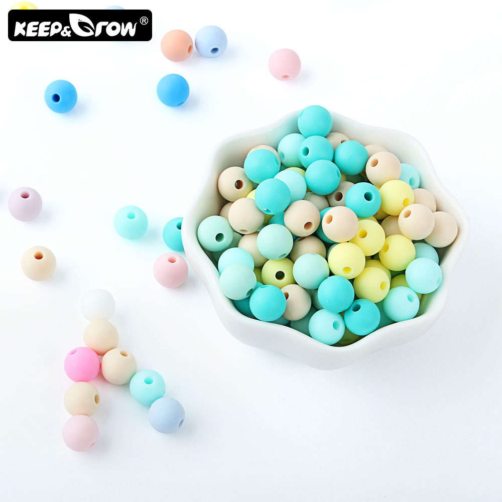 Keep&Grow 50pcs 9mm Silicone Beads Pearl Silicone Food Grade Teething Beads DIY Jewelry Making Baby Teether Toy Pacifier Chain