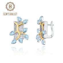 Stud-Earrings GEM'S Topaz BALLET 925-Silver Swiss-Blue Two-Tone Natural Women Golden