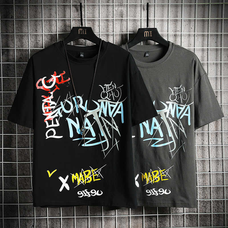 Japanese Streetwear T Shirt graffiti Summer Mens Harajuku Cotton T-Shirt Male Korean Oversize Tops 5XL Tees