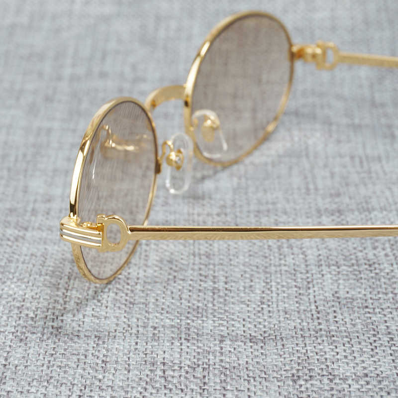 ヴィンテージラウンドサングラス金属フレームサングラスレトロシェード男性ゴーグルを駆動するためのクリアのための読書眼鏡 008