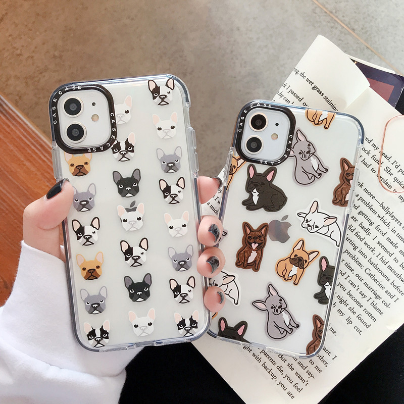 Cute French Bulldog Phone Cases For Iphone 7 8 Plus Cartoon Dog Frame Coque For Iphone 11 Pro XR XS Max X Clear Soft TPU Cover
