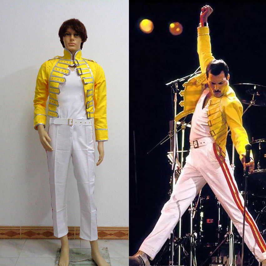 queen lead vocals freddie mercury men yellow jacket coat white pant cosplay costume halloween uniform custom made any size aliexpress aliexpress