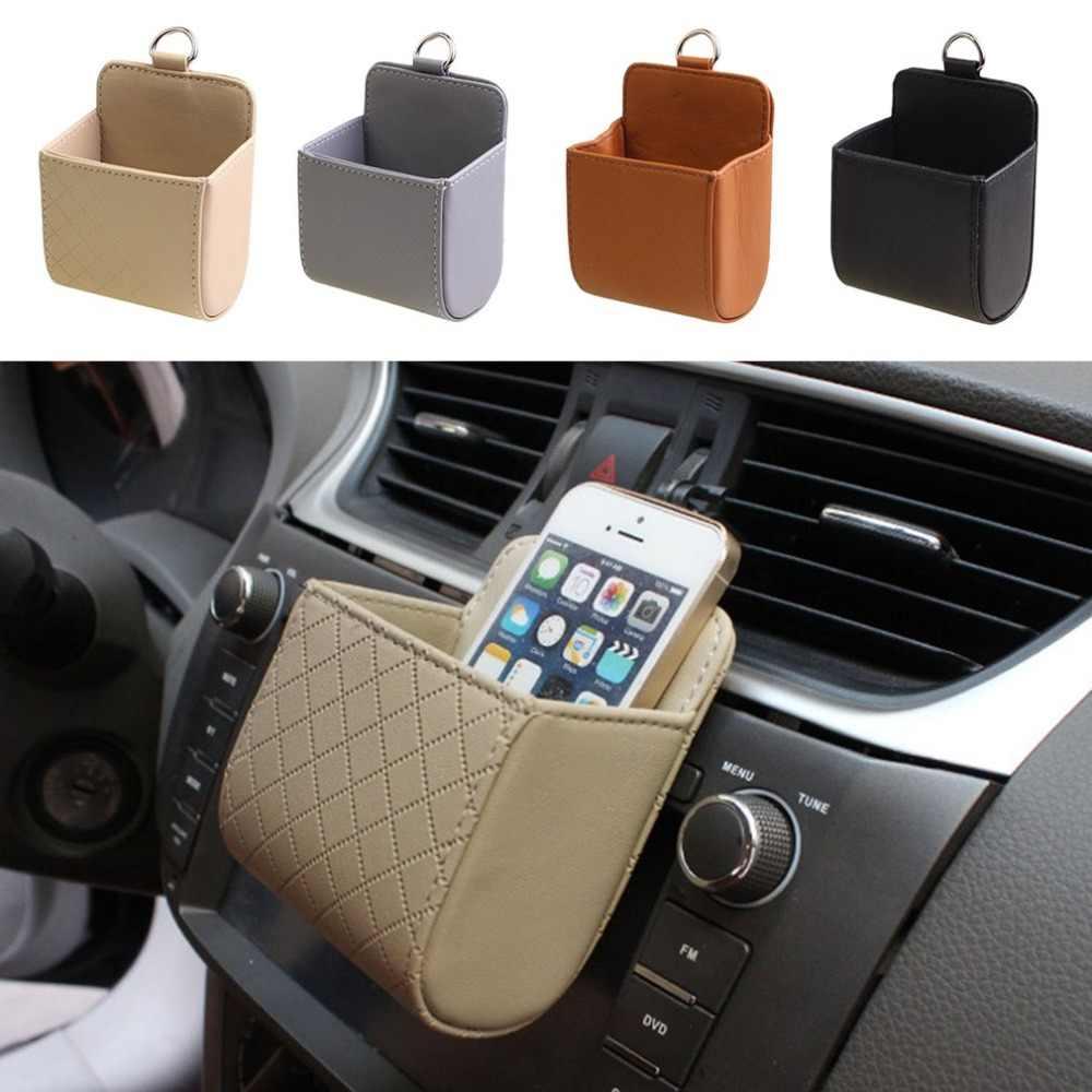 العالمي جلدية سيارة الهواء تنفيس منفذ كيس التخزين جيب صندوق تخزين ل CD الهاتف المحمول أشتات مفاتيح نظارات
