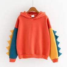 Women Hoodie Sweatshirt Pullover Coat Long Sleeve Sports Splice Dinosaur Top US