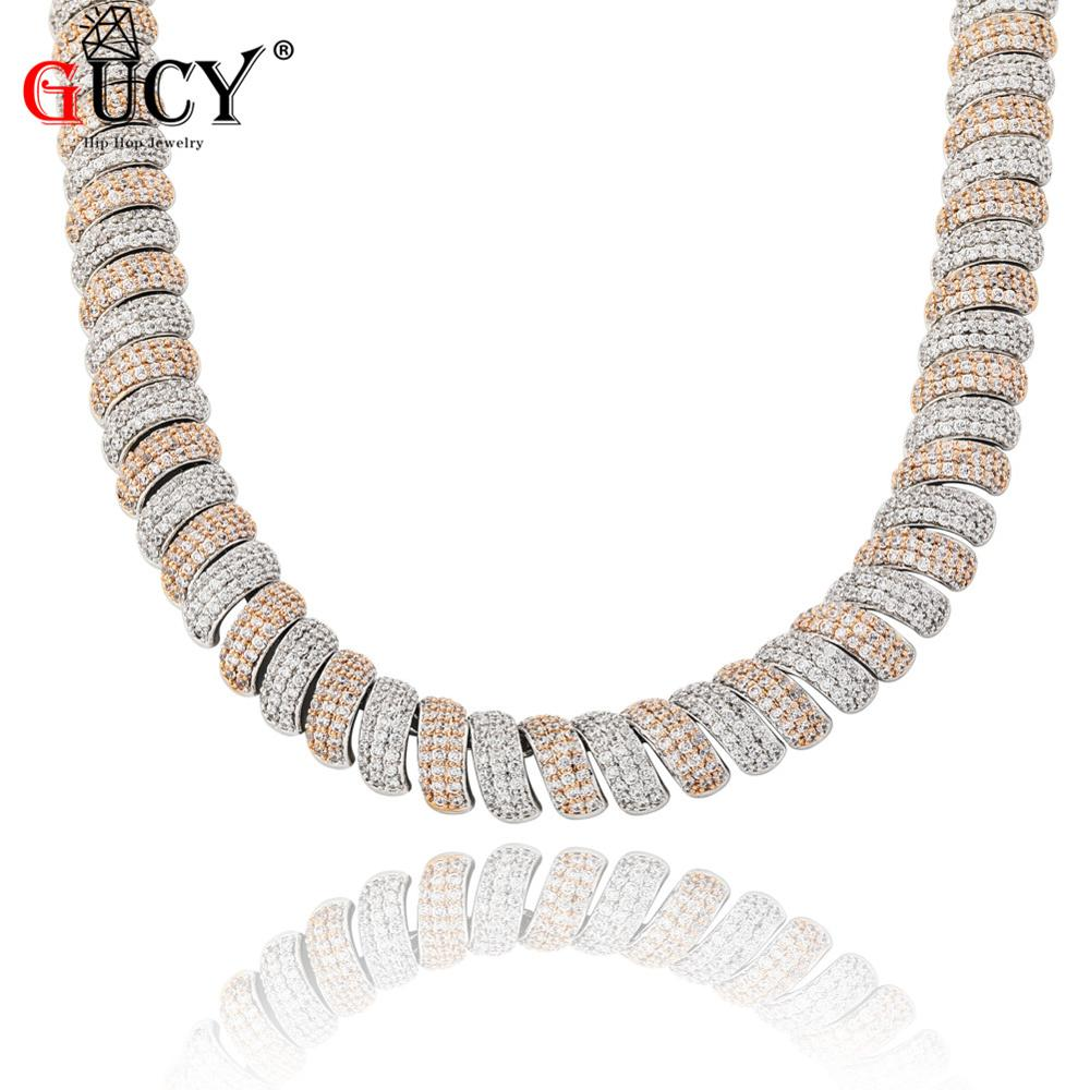 GUCY New 14mm Iced Out Cubic Zircon Cuban Links Men's Necklace Gold Silver Color Plated Personality Jewelry