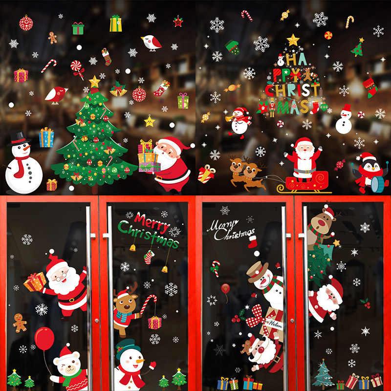 Merry Christmas çıkartmaları noel baba geyik noel ağacı Frozens kar tanesi duvar pencere çıkartmaları süsler Navidad 2021 yeni yıl dekor