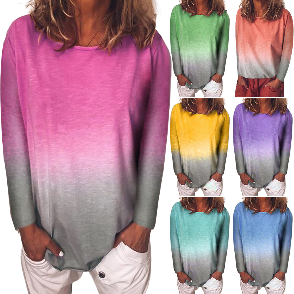 Wipalo Autumn Winter S-5XL Plus Size Women Casual Pullover Rainbow Print Gradient Elegant Tops O-Neck Long Sleeve Loose Hoodie