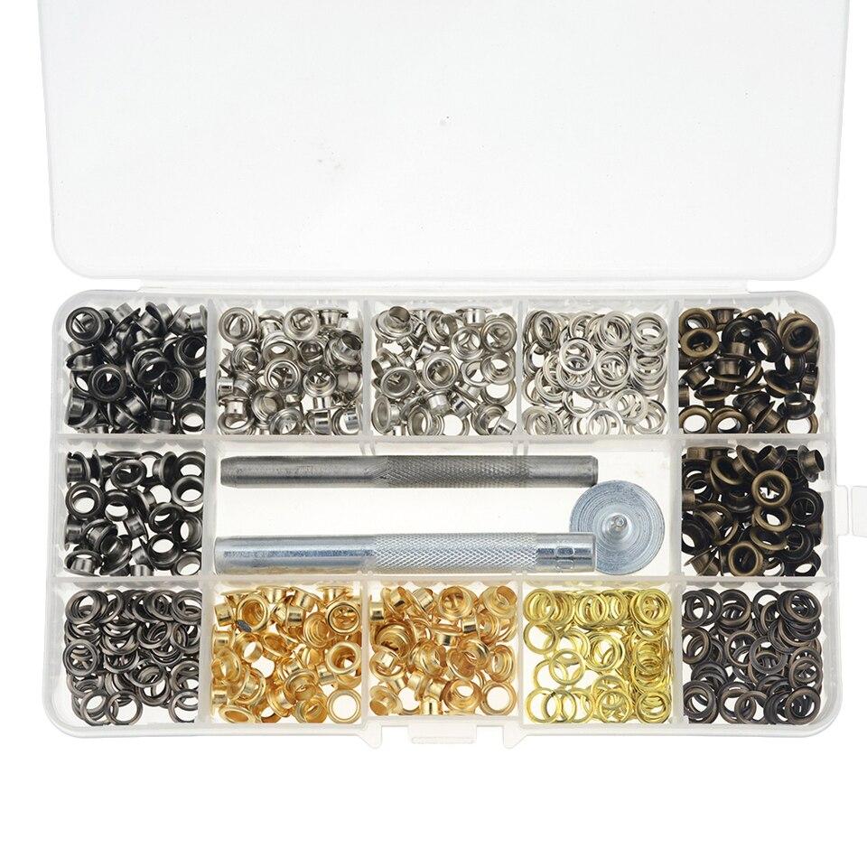 manualidades 4 colores Juego de ojales de metal con kit de herramientas de 3 piezas y caja de almacenamiento para bolsos zapatos 400 unidades en total ropa