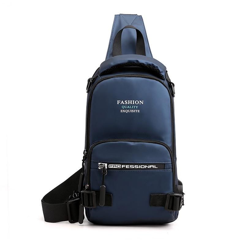 Breast Package Nylon Backpack Features One-Shoulder Crossbody Blcak Bag Leisure Bag Shoulder Bag  Messenger Chain Bags