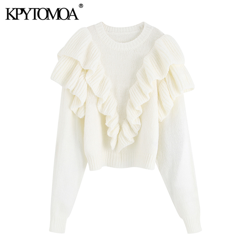 Vintage Sweet Short Style Ruffles Knitted Sweater Women 2020 Fashion O Neck Long Sleeve Female Elegant Pullovers Chic Tops
