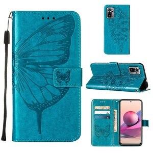 Image 2 - Vlinder Bloem Leather Telefoon Case Voor Xiaomi Redmi Note 10 10S Pro 9 9T Poco X3 Nfc F3 m3 Mi 10S 11 Wallet Flip Back Cover