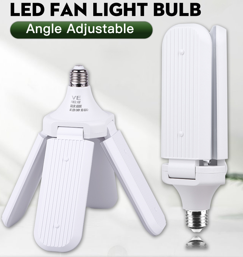 Fan Blade LED Bulb 60W Super Bright Garage Lights 45W Adjustable E27 LED Fan Lamp LED Light For Living Room Stairs Bedrooms
