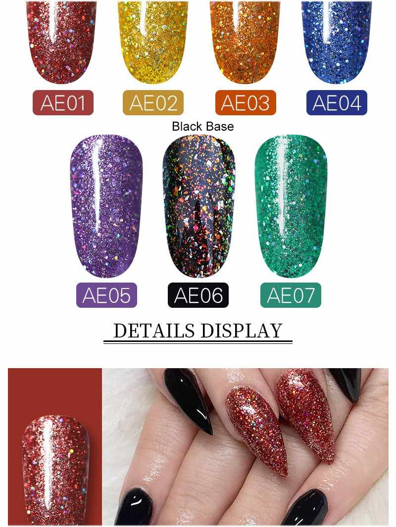 WHID CHIC UV เจลเล็บ Holographici Bling Sequins Glitter Soak Off เล็บ UV GEL 5ml