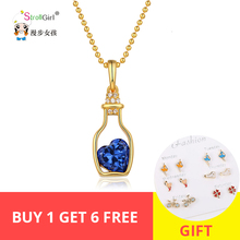 StrollGirl New arrival 925 Sterling Silver Personalized Drift Bottle with Heart Birthstone Jewelry Necklace Mothers Day Gift