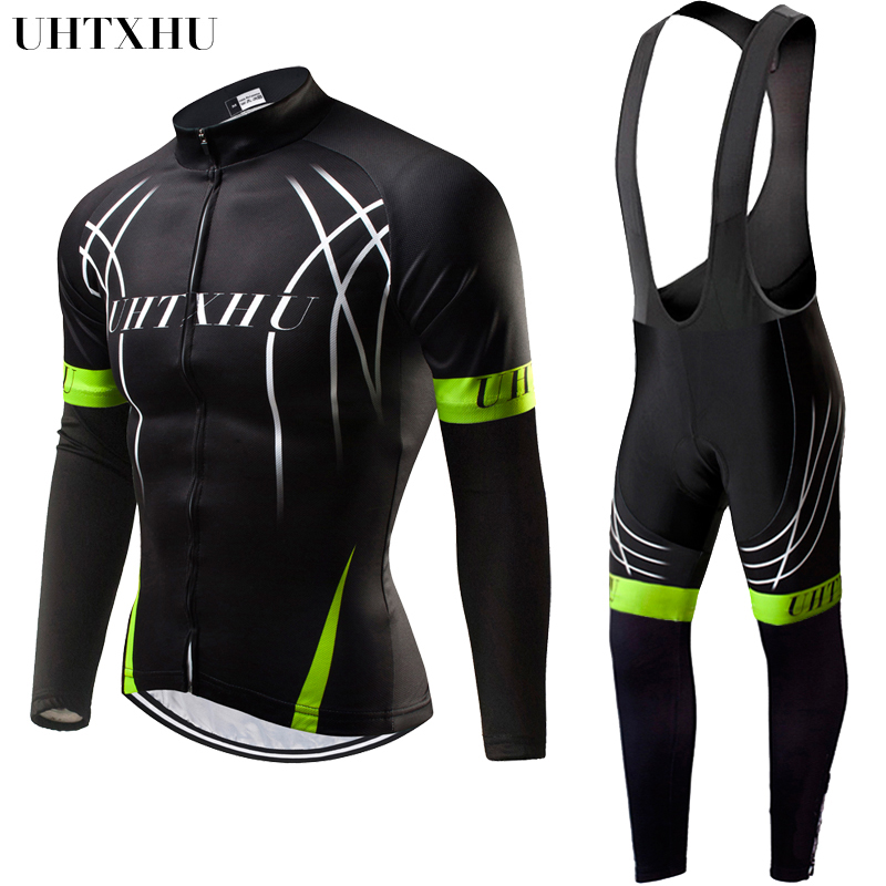 Uhtxhu Autumn Spring Cycling Jersey Set Cycling Clothing Bicycle Wear Bike Kit Men Bicycle Jerseys Cycling Sets