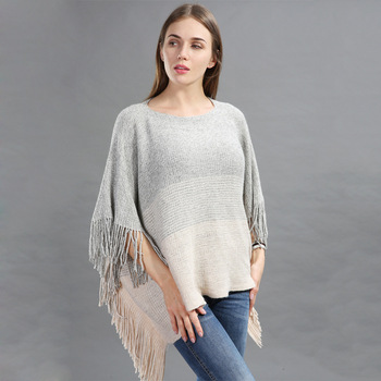 Womens Tassel Cape Sweater Oversized Batwing Warm Fringe Poncho Woman Autumn Shawl Scarves Femme Loose Knitted Pullover Cloak