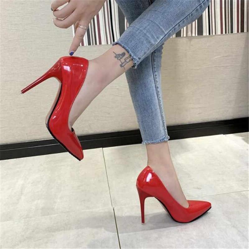 Yeni 9cm kırmızı renk sivri yüksek topuklu stiletto sığ ağız seksi siyah patent deri iş ayakkabısı kadın ayakkabısı Artı Boyutu 34 -43