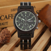 Luxury Wooden Men Watch Sport Fashion Chronograph Dials Display Wood Watches High Quality Business Male Quartz Timepieces