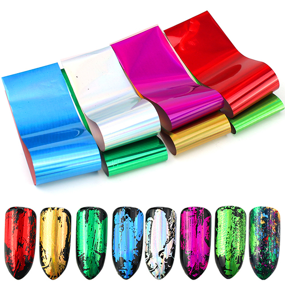 4*20cm Starry Nail Foils Holographic Stickers Nail Transfer Sticker Laser Rose Gold Champagne Nails Stickers