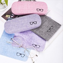 1PC Fresh Style Reading Eyewear Case Sunglasses Box Case Retro Linen Hard Eye Glasses Hard Shell Protector(China)