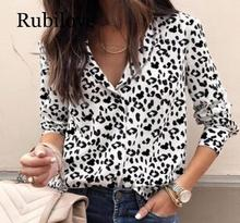 Rubilove Leopard Blouse Women Long Sleeve Shirts Spring Summer 2019 Fashion V-Neck Shirt Casual Elegant Womens Tops and B