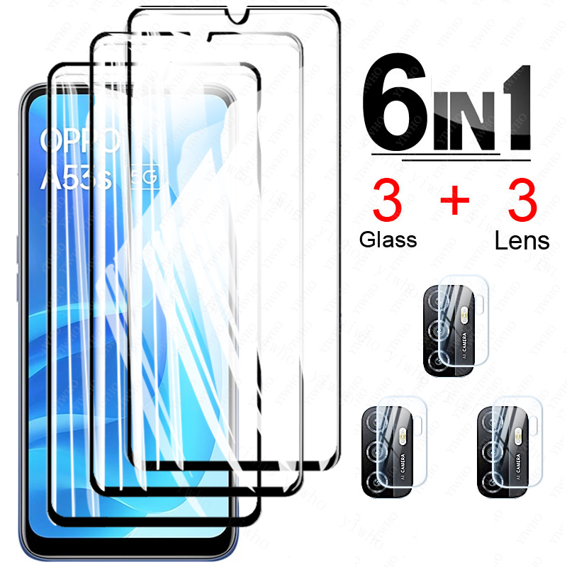 For Oppo A53s 5G Glass Protectve on For Oppo A53 Glass Phone Case Screen Protector for Oppo A94 A95 A93 A73 A72 A55 5g A15 A15s