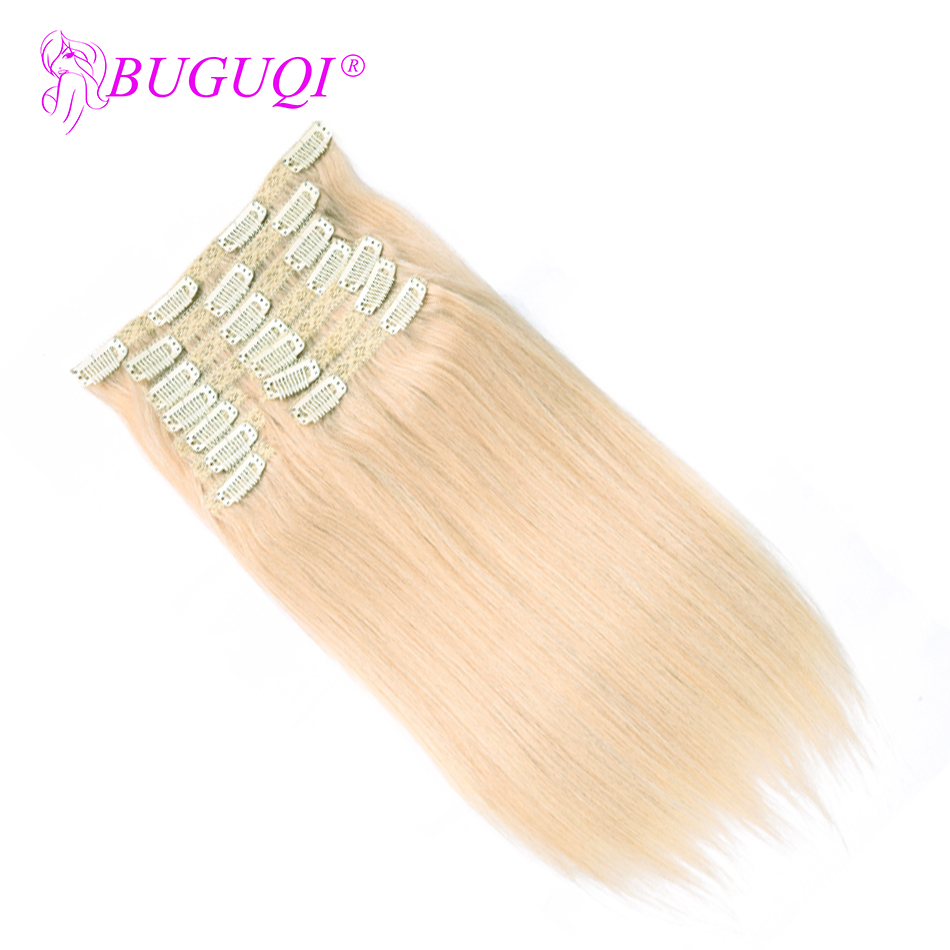 BUGUQI Hair Clip In Human Hair Extensions Peruvian #60 Remy 16- 26 Inch 100g Machine Made Clip Human Hair Extensions