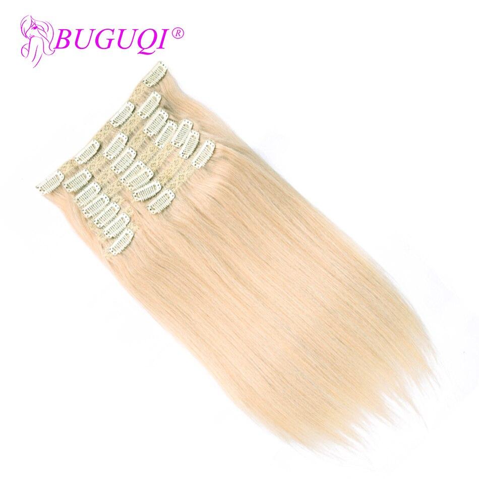 BUGUQI Hair Clip In Human Hair Extensions Peruvian #60 Remy 16- 26 Inch 100g Machine Made Clip Human Hair Extensions