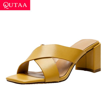 QUTAA 2020 Square Heel open-toed Slip on Women Shoes Cow Leather Slingback Fashion Sandal Summer Cut Outs Ladies Pumps Size34-40