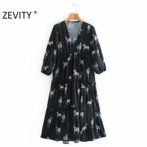 ZEVITY women vintage V Neck animal print agaric lace midi dress female three quarter sleeve casual vestido chic dresses DS4506