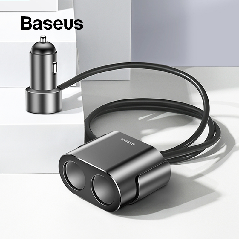 Baseus Dual USB Car Charger 3.1A 100W Socket Cigarette Lighter Splitter for Iphone XS 11 Samsung Phone Car Charger Auto Expander-in Power Adapter from Automobiles & Motorcycles