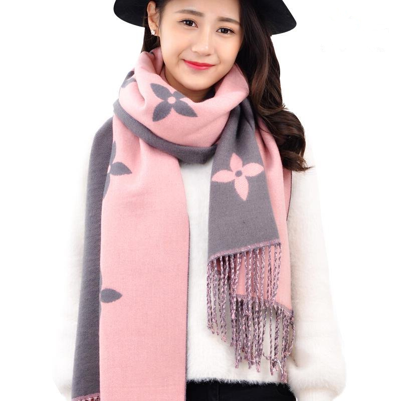 2019 Autumn And Winter New Scarf Double-sided Scarf Female Fashion   Warm Thick Shawl Cashmere Clover Scarf Female Printed Scarf