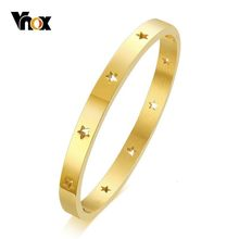 Vnox Elegant Hollow Stars Cuff Bracelets for Women Bangle Hand Polished Stainless Steel Female 3 Colors for Options(China)