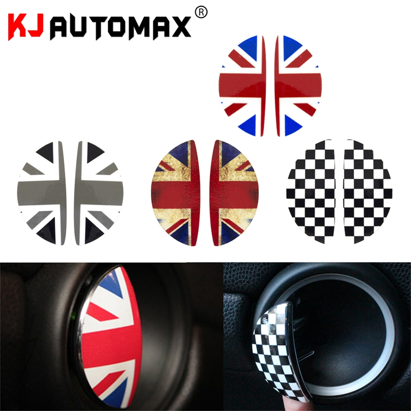 KJAUTOMAX For Mini Cooper R50 R53 R55 R56 R60 2D Grey Jack Inside Door Handle Sticker Vinyl Union Jack