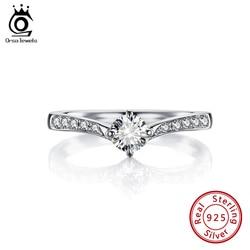 ORSA JEWELR dzieła Solitaire pierścień oryginalny 925 Sterling Silver biżuteria Cubic cyrkon obrączki dla kobiet prezent zaręczynowy SR194