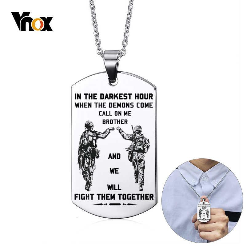 Vnox, Персонализированная бирка из нержавеющей стали, для мужчин, для мотоцикла, для армии, для братьев сольье, крепкий человек, BFF, ожерелья, подарок на заказ