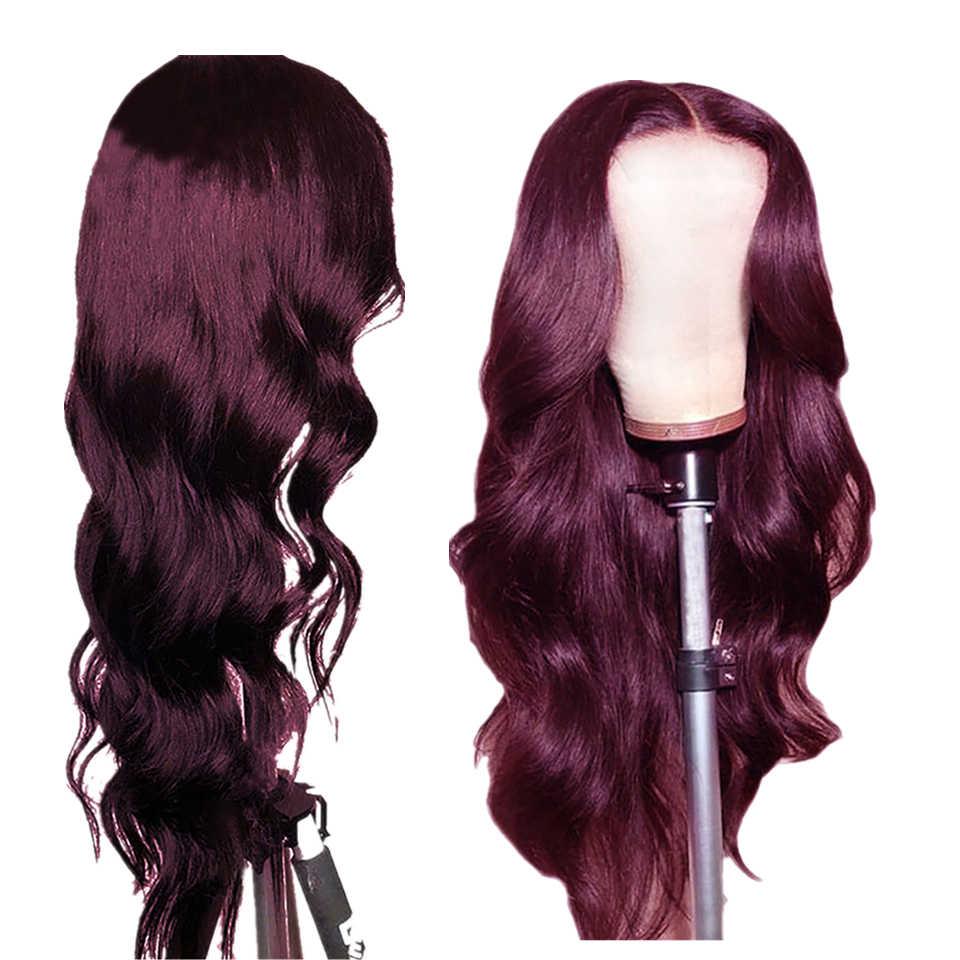 Ombre czerwony ciało fala 4x4 koronka zamknięcie ludzki włos peruka wstępnie oskubane malezyjski Remy włosy burgundowy peruka 150% gęstość dla czarnych kobiet HairUGo