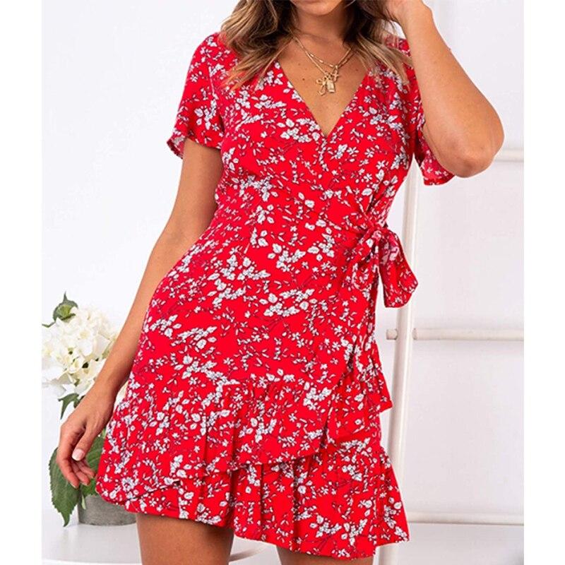Printed Women Dresses Summer 2021 Elegant Short Sleeve Dress Ruffles Dresses Women Casual V-neck Beautiful Dress for Holiday 6