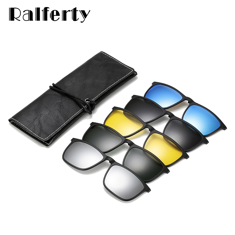 Ralferty <font><b>Magnetic</b></font> <font><b>Sunglasses</b></font> <font><b>Men</b></font> <font><b>5</b></font> <font><b>In</b></font> <font><b>1</b></font> Polarized <font><b>Clip</b></font> <font><b>On</b></font> <font><b>Sunglass</b></font> Women Square Sunglases Ultra-Light Night Vision Glasses A8804 image