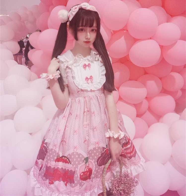 Kawaii Lolita Vestido JSK lolita bonito cereja Japonesa irmã macio vestido de alça