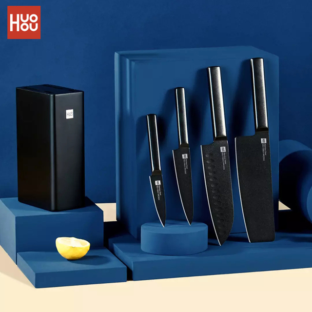 Huohou 5Pcs Cool Black Kitchen Non-Stick Knife With Knife Holder Stainless Steel Chef Knife Set 307mm Slicing Knife 1